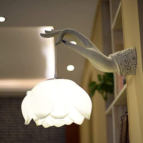 WY-YAN Lámpara de Pared de la lámpara de iluminación hogar Creativo Restaurante Hotel Ocio Corredor clásico Resina bergamota lámpara de Pared de la Mano Derecha, lámpara de Mano de Buda Pared, 5 (W)