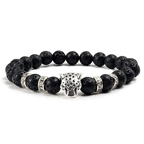 HMKLN Mode für männer schwarz Lava armreifen armbänder Legierung Panther Kopf Strass runde armreif für Frauen Buddha Armband