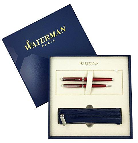 Waterman - Hemisphere 10: Set lak rood comet vulpen M + balpen + tas