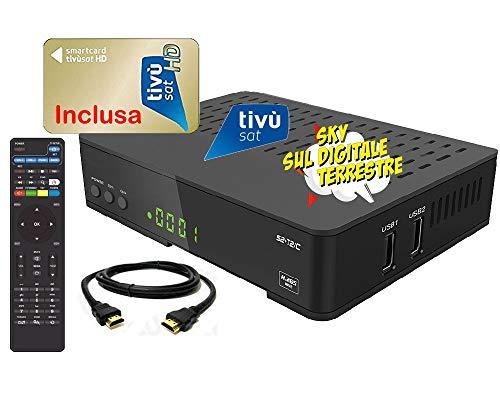Decoder Tivusat HD 1080p Compatibile Con Tessera Gold Inclusa Da Attivare - Ultra Dvb-s2 Dvb-T2 Combo Compatibile con Tivusat con Cavo HDMI incluso