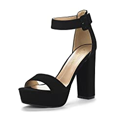 "Open Toe Chunky Heel Buckle at ankle closure. Heel height: 4.5"" (approx) Platform height: 1.25"" (approx) TPR rubber sole Latex padded insole for added comfort"