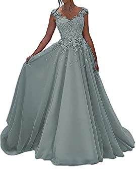 Prom Dress Formal Evening Gowns Long Prom Dresses Lace Party Dress Appliques Evening Dress V Neck Dusty Blue