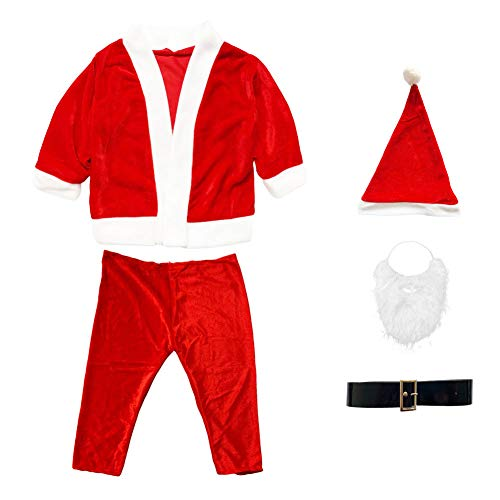Fiesta Cotigo Disfraz Papá Noel Niño - Disfraces para Niños - Chaqueta,Pantalón,Barba,Gorro y Cinturón para Navidad o Cosplay,Conjunto de 5pcs,Rojo (2-4año)