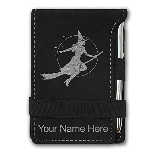 Mini Notepad, Halloween Sexy Witch, Personalized Engraving Included (Black with Silver)