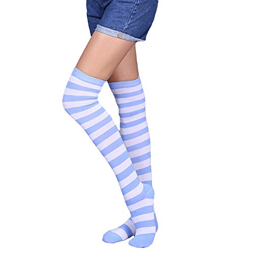 Girls Womens Long Striped Over Knee High Socks Colorful Rainbow Funny Cute Costume Cosplay Stockings Leg Warmer 1 Pair,Blue White