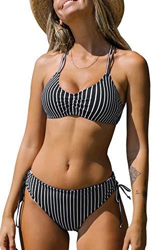 CUPSHE Damen Bikini Set mit Geflochtenen Trägern Blumenmuster Bademode Reversible Bikinihose Zweiteiliger Badeanzug Schwarz L