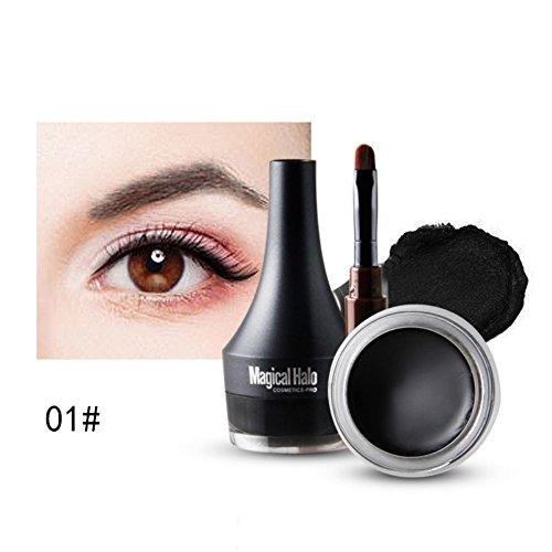 Etanche Eyeliner Gel, KISSION Longue Durée Crème de Sourcil & Eyeliner Gel Avec Brosse Sets (Noir)