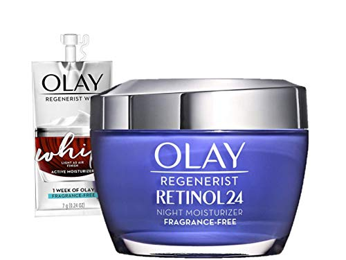 Olay Regenerist Retinol 24 Night Face Moisturizer, 1.7 fl oz + Trial Size Whip Face Moisturizer, Bundle