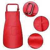 Fodlon 2 Stück Rot Kinder Schürzen mit Taschen, Verstellbare Kleinkind Kochschürze für Jungen Mädchen, Küchenschürze Malschürze, Kinder Künstler Schürzen für Basteln Malen Backen Kochen (7-13 Jahre) - 2