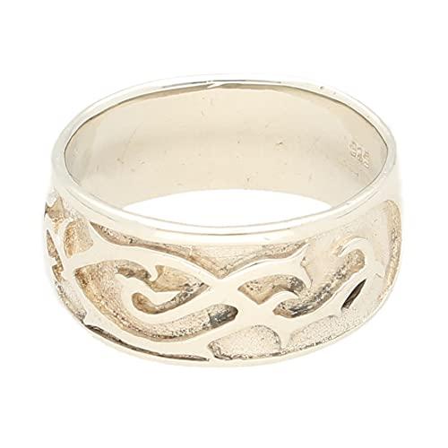 Jollys Jewellers Banda celta de plata de ley para hombre (talla S), 10 mm de ancho