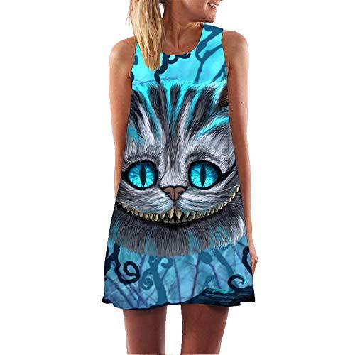 binglinshang Katzen Kleid 2019 Ärmellos O Neck Lose Chiffon Etuikleid 2019 Sommerkleidung Für Frauen Casual Sexy Mini Short Boho Strandkleid, XL