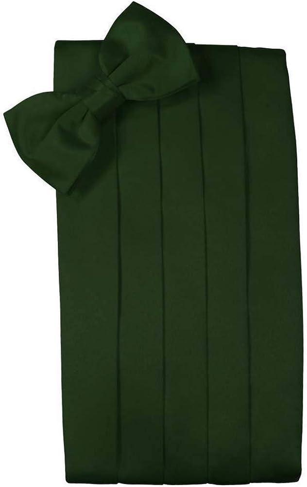 Men's Solid Satin Cummerbund & Bow Tie Set - Many Colors (Holly)