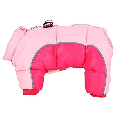 Pet Clothes,Pet Dog Winter Keep Warm Windproof Clothes Clothing Four Legs with Back Zipper Pink(12#)