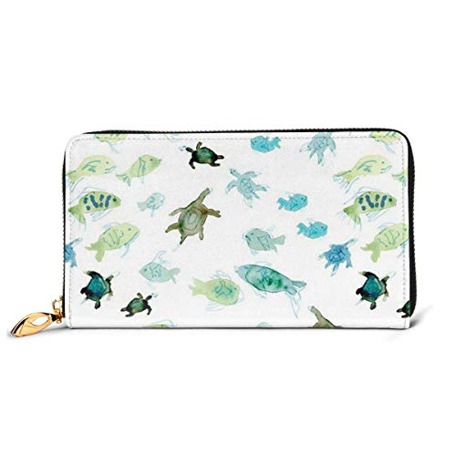 Fish Turtle Watercolor Pattern Wallets for Men Women Long Leather Checkbook Card Holder Purse Zipper Buckle Elegant Clutch Ladies Coin Purse