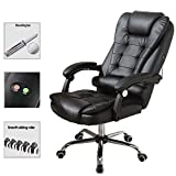 Office Leather Chair Executive Computer Desk Chair with Massage Function Adjust Seat Height, 360 Degree Free Rotation Pulley (Black)