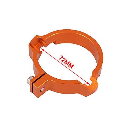 JFG RACING Abrazadera de tubo de escape CNC de 72 mm para 2017-2018 SX250 EXC250 EXC300 de dos tiempos, color naranja