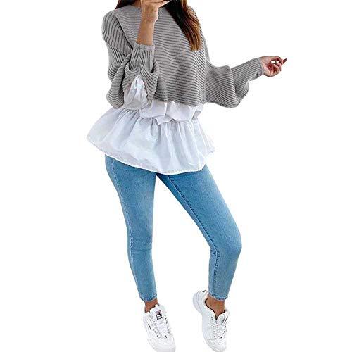 YSHJF wintermode gekrulde gebreide trui pullover patchwork los shirt casual streetwear vrouwelijke vrouwen lange mouwen pullover
