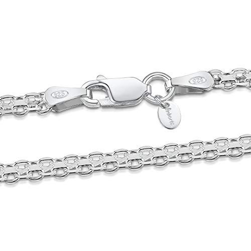 Amberta 925 Sterlingsilber Halskette - Bismarck Kette - 2.2 mm Breite - Verschiedene Längen: 40 45 50 55 60 cm (60cm)