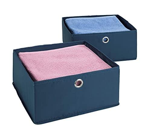 WENKO Schubladenorganizer Business 2er Set - 2er Set, Aufbewahrungsboxen für Schubfächer, Polyester, 28 x 13 x 28 cm, Dunkelblau