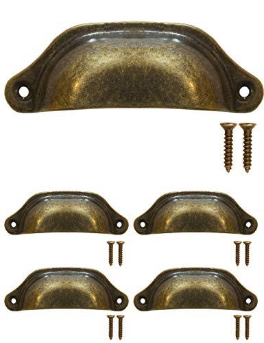 FUXXER – 4 x cassetti, maniglie in bronzo e ferro, design antico, per armadio, buffet, cassetti, stile vintage rustico, stile retrò, 97 x 30 mm, con 8 viti, set da 4
