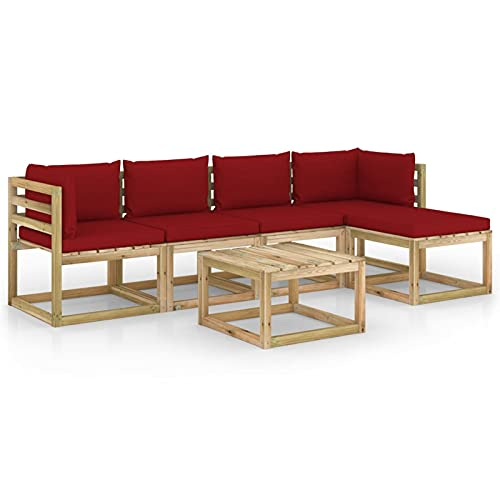 Tidyard Juego de Muebles jardín 6 pzas Cojines Madera Pino impregnado 16# | Muebles de Jardín Conjunto de Jardín Muebles Terraza Exterior Conjuntos Sofa Palets Exterior