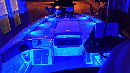 Oznium Bass Boat LED Deck Light Kit with 8 snap-fit LED Bolts, Plug and Play Wiring, LED dimmer knob (Blue LEDs)