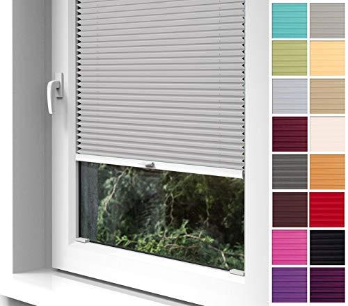 Home-Vision® Premium Plissee zum Anschrauben in der Glasleiste Innenrahmen (Grau, B45cm x H100cm) Blickdicht Plissee Jalousie mit Halterungen zum Bohren, Sonnenschutzrollo Rollo