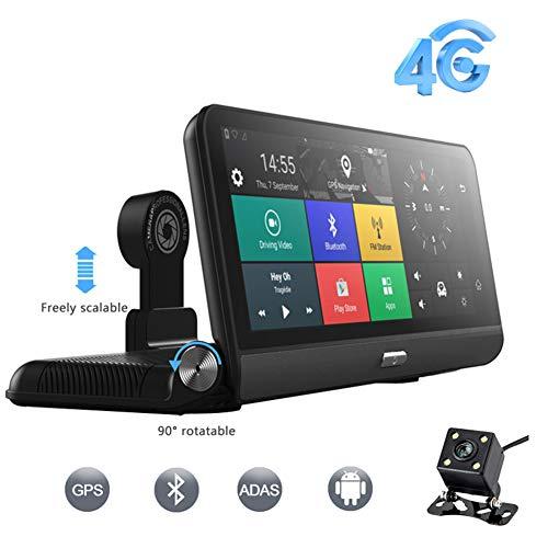 8'camara espia para coche, pantalla táctil Full HD Multimedia Cámara corriente 170 ° 1080P y 140 ° de la cámara 480P de copia de seguridad con GPS, para la ventana trasera, SUV, camiones, camionetas