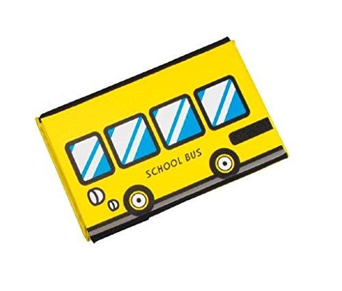 Boîte de rangement avec couvercle rembourré Motif Scool Bus Bus scolaire en jaune Bus voiture multicolore Tabouret pliant pliable Banquette Siège Tabouret Siège 40 cm x 25 cm x 25 cm Box Tabouret Boîte à rabat en cuir synthétique Box Boîte à jouets abwischbar
