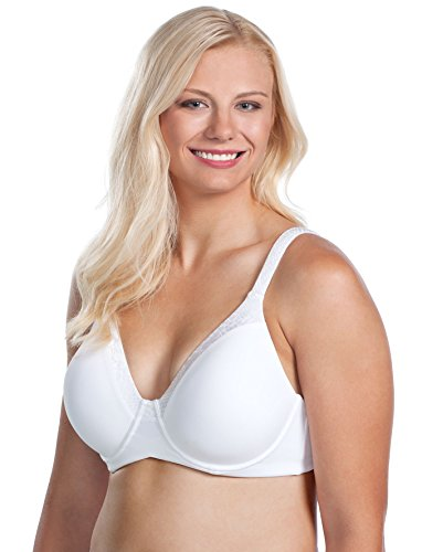 LEADING LADY Women's Plus-Size Plus Size Luxe Body T-Shirt Bra Wirefree Bra, White, 48A