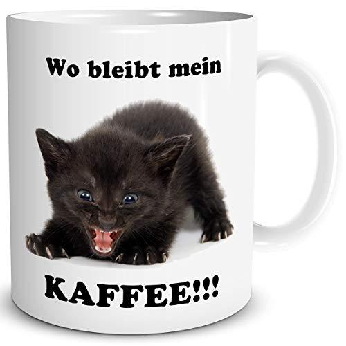 TRIOSK Tasse Katze lustig mit Büro Spruch Wo bleibt Mein Kaffee Katzenmotiv Geschenk für Katzenliebhaber Frauen Freundin