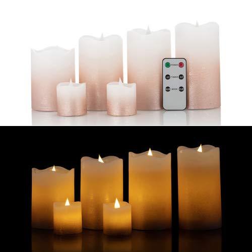 6 LED Echtwachskerzen mit täuschend echter Flamme & Docht, Fernbedienung und Timer (Roségold Farbverlauf)