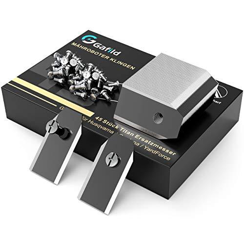 Gafild Cuchillas Automower en Titanio,45 Piezas Cuchillas de Repuesto Titanio para Robot Cortacésped Gardena/Husqvarna Automower Accesorios, con Tornillos