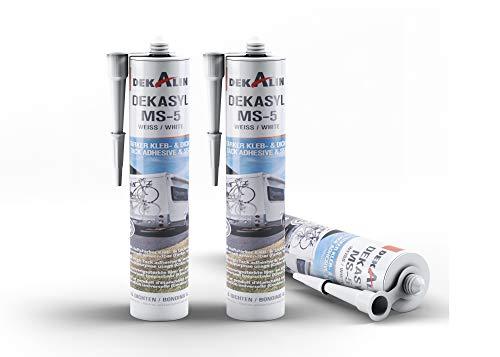 3 x Dekalin DEKAsyl MS-5 MS-Polymer Kraftkleber - elastischer Kleb- und Dichtstoff für Camper, Caravan, Wohnmobil 290 ml (weiß)…
