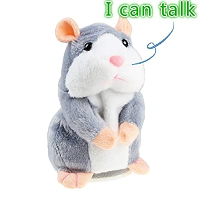 Talking Hamster Plush Toy, Repeat What You Say Funny Kids Stuffed Toys, Talking Record Plush Interactive Toys for, Birthday Gift Kids Early Learning by Ideapro