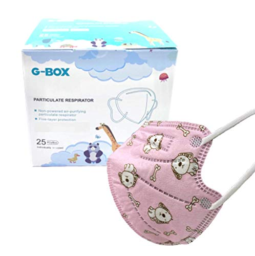 G-Box Children's 5-Layer Disposable Particulate Respirator (25-pcs, Individually Wrapped) (Pink Puppy)