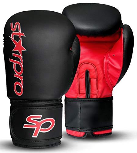 STARPRO Boxhandschuhe Muay Thai Training - 8oz 10oz 12oz 14oz 16oz | Kickboxen Pro Sparring Professioneller Punchinghandschuhe Mitts Boxsack Boxing Gloves| Kunstleder Schwarz Rot für Männer und Frauen