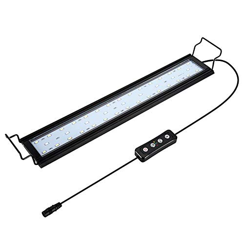 Hygger Regulable Lampara LED Acuario con Temporizador, Luz LED con Soporte Ajustable(14W, 41-61cm)