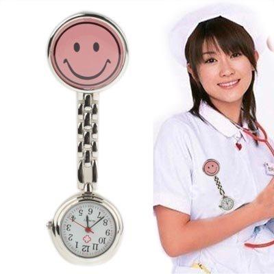 YOFEE WBV Aysmg niedlichen gelben Smiley-Stil Krankenschwester Quarzuhr mit Clip (pink) (Color : Pink)