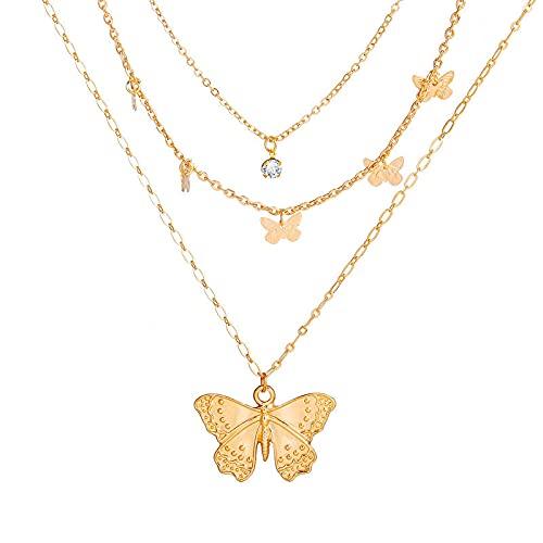 Sttiafay Collar con colgante de mariposa dorada con múltiples capas de diamantes de imitación para...