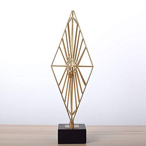 DAMAI STORE Geometría Hierro Artesanías Decorativas Sala De Entrada Sala De Estar Modelo De Gabinete De La TV Bases Accesorios De Muebles For El Hogar De Mármol Europea (Size : 10 * 11 * 48cm)