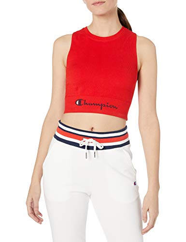Champion Women's Sweatshirt Crop TOP, Red Flame, Small