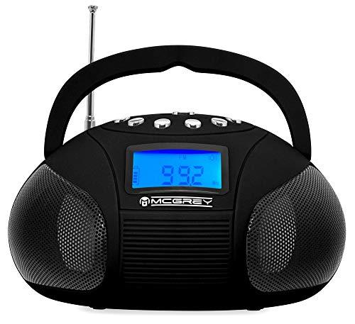 McGrey MC-50BT-BK Bluetooth Lautsprecher - Boombox mit UKW Radio-Wecker und Uhr - USB und SD Player - Betrieb über auswechselbaren Handy Akku oder Netzteil - Schwarz