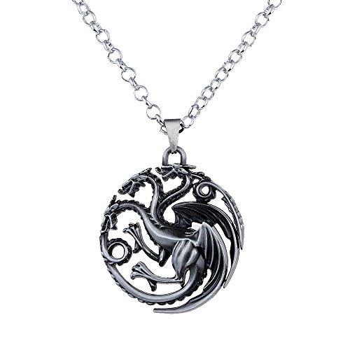 lureme Juego de Tronos Inspirado Targaryen Traje Colgante Collar de Plata Antigua (nl005382-2)