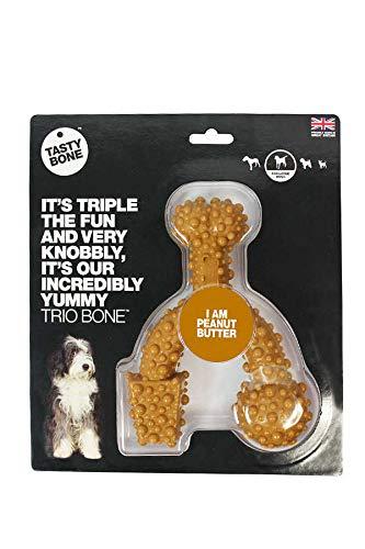 TastyBone - Hueso de juguete trio con sabor a mantequilla de cacahuete para perros (Juguete) (Puede Variar)