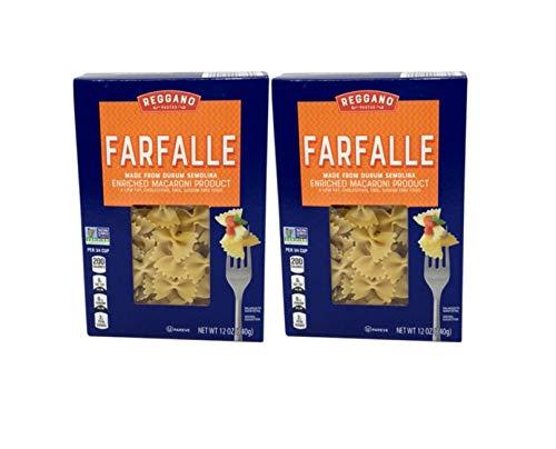 Reggano Classic Durum Semolina Low Fat Sodium Free Farfalle Bow-Tie Macaroni Pasta - 2 Pack (12 oz.)