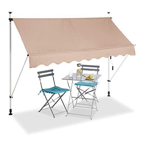 Relaxdays, beige Klemmmarkise, Balkon Sonnenschutz, einziehbar, Fallarm, ohne Bohren, höhenverstellbar, 250 cm breit