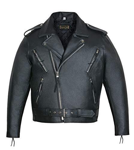 Bongossi-Trade Herren Lederjacke Brando Jacke Motorrad Oldschool Chopper Rindleder schwarz Gr. L Marke