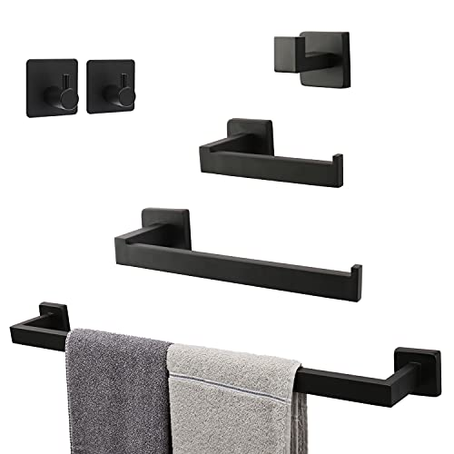 TocTen 6 PCS Bathroom Hardware Set 304 Thicken Stainless Steel- Square Towel Rack Set Include 24