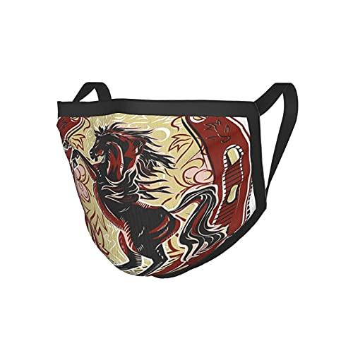 Horseshoe Decor Collection Caballo Cresta Curva Salvaje Escudo Deporte Crianza Emblema Trigo Adornado Diseño Negro Borde Máscara
